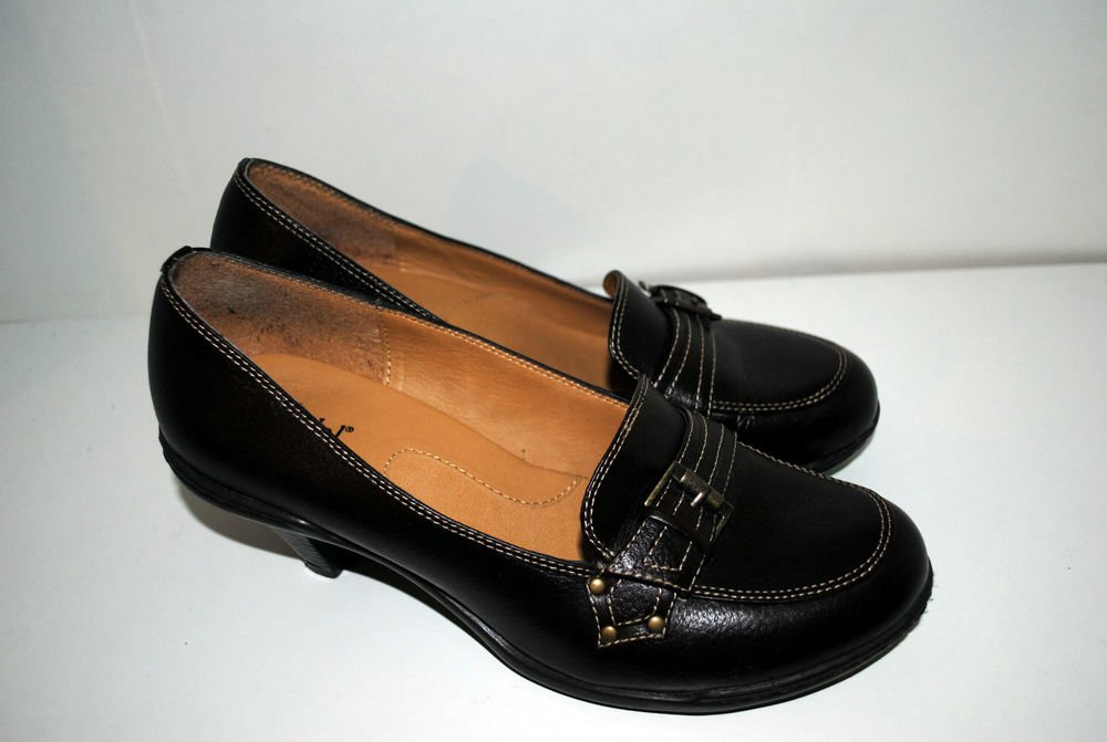 BJORNDAL Womens Sz 7M Dark Brown Leather Slip On Classic Pumps Heels Shoes