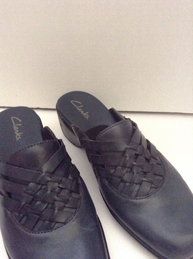 Womens Clarks Navy Leather Clog Mules  Slides 8.5W