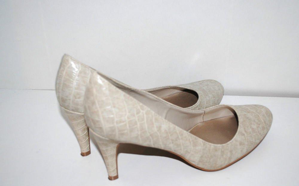 PREDICTIONS Women 8.5W Croc Snake Pumps Round Toe Cream Beige Heels Shoes
