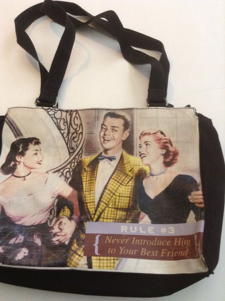 Vintage Relic brand womans handbag purse Never Introduce Him To Your Best Friend