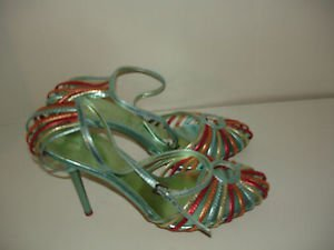 GOMAX GIANI 08 Green Gold Red Bronze Strappy Stiletto Sandals Shoes Size 8.5