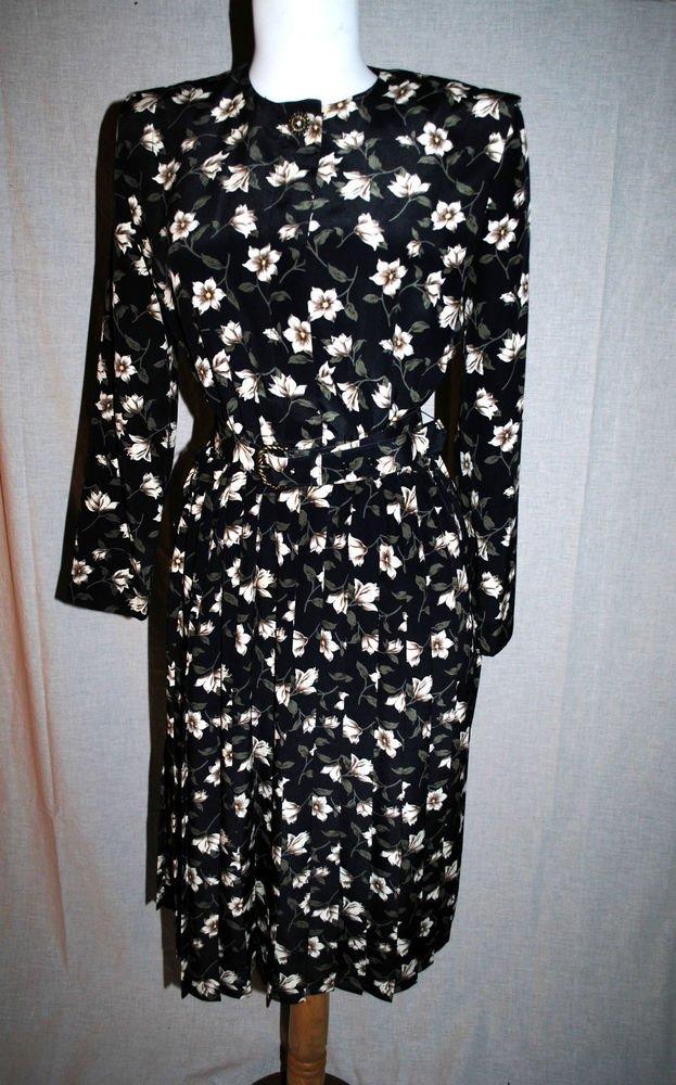 Vtg Leslie Faye Dresses Pettite Sz 6 Black Floral Pleated Belted Dress Sleeves