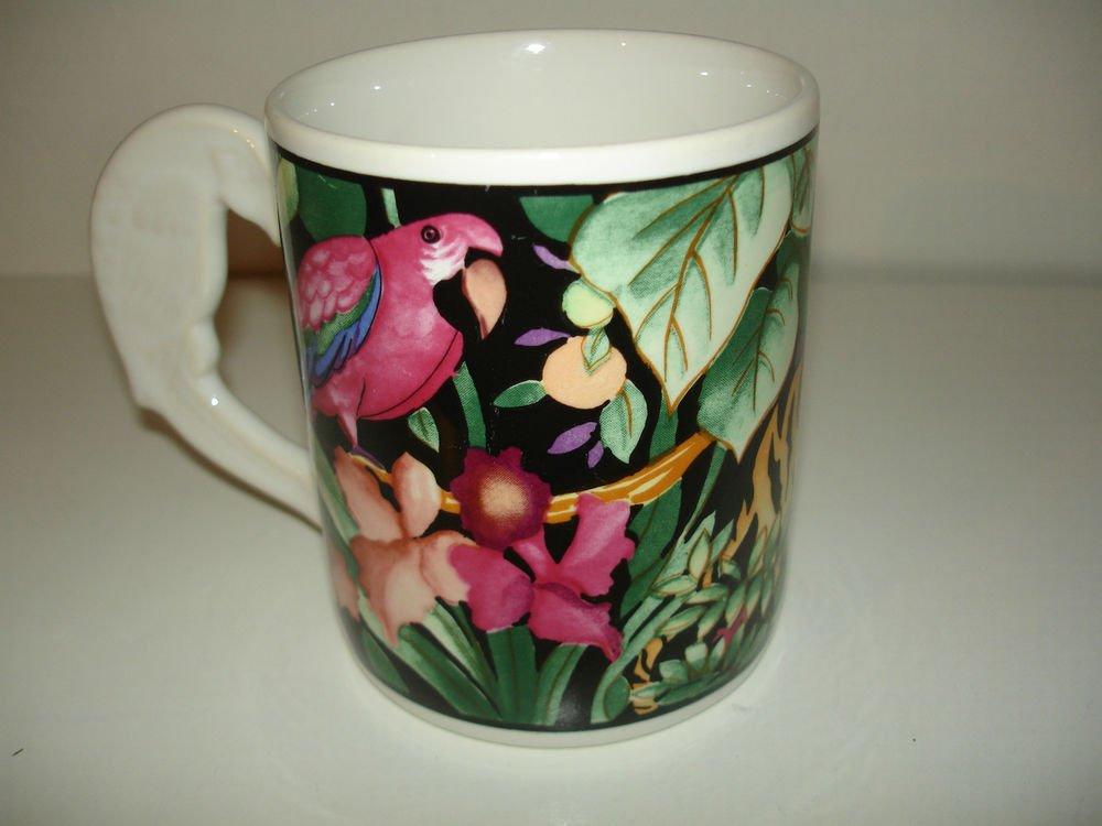 Vitromaster Rain Forest Mug  Sue Zipkin 1993 Parrot Multi-Color
