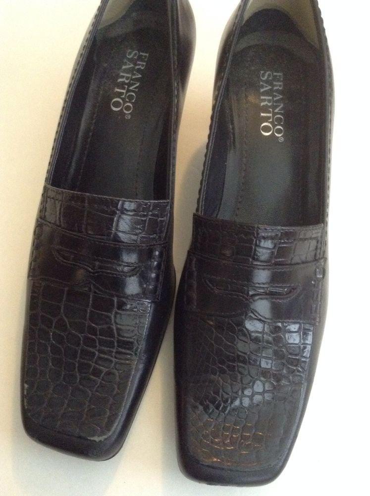 FRANCO SARTO Black Leather Womens Kitten Heel Slip On Casual Comfort Pump Sz 6M
