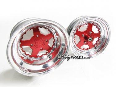 Honda Ruckus wheels rims RED LUCKYSTAR 2 piece billet forged wheel SET / front hub