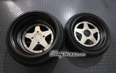 "Honda Ruckus SUPERSTARS 13"" custom  13x4 / 13x8 FLAT BLACK LIP / Mirror Polished face / TIRES"