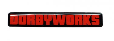 "DORBYWORKS Emblem .5"" x 3"" red black"