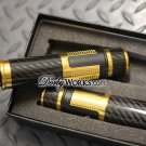 Solid Billet Aluminum Carbon fiber Grips with weighted bar ends and throttle GOLD