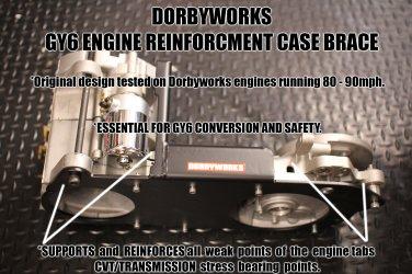 GY6 ENGINE REINFORCEMENT CASE BRACE -  Flat BLACK -  brace only