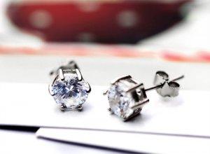 925 Sterling Silver CZ Diamond Earrings - Diamond Ear Stud - Bridal Jewelry