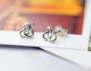 925 Sterling Silver Knot Earrings - Love Knot Stud Earrings - Classic - Nautical Stud