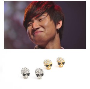 � BIG BANG DaeSung - Cubic Skull Skeleton Piercing Earring