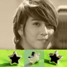 Pair of Black/White Star Magnetic CLIP ON Earrings Studs