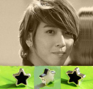 Pair of Black/White Star Magnetic CLIP ON Earrings Studs