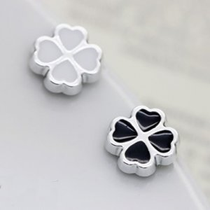 Pair of Lovely, Beautiful Black/White Lucky 4 Leaf Clover Magnetic Earrings Studs  Lady's