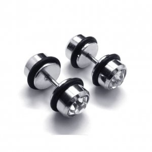 Pair of Diamante Crystal Earring Stud Ear Post Surgical Stainless Steel Mens' Punk/Biker/Gothic