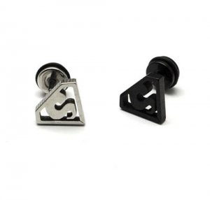 Pair of Superman Earring Stud Ear Post Black/Silver Surgical Stainless Steel Punk/Cool/Hip Hop Men's