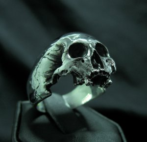 Into The Fire - Sterling Silver Mens Ring Skull Ring Biker Harley Masonic Ghost Rider Jewelry 925