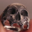 skull ring - into the fire - sterling silver mens skull ring biker rock and roll jewelry 925 4