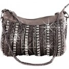Metallic Pewter Crystal Chained Style Handbag Purse