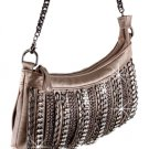 Metallic Bronze Crystal Chained Handbag Purse