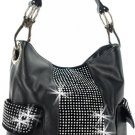 Handbag Purse Crystal Pattern Rhinestone Shoulder Handbag -Black