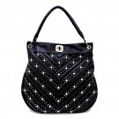 Rhinestone Crystal V Chevron Pattern Shoulder Handbag - Black & Gold