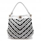 Rhinestone Crystal V Chevron Pattern Shoulder Handbag - White & Gold