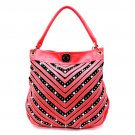 Rhinestone Crystal V Chevron Pattern Shoulder Handbag - Pink & Gold