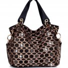 Rhinestone Crystal Pattern Shoulder Handbag - Black & Gold