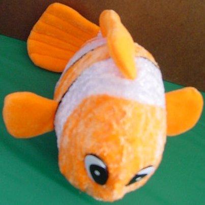 "Calplush Orange White Clown Fish Stuffed Plush 11"""