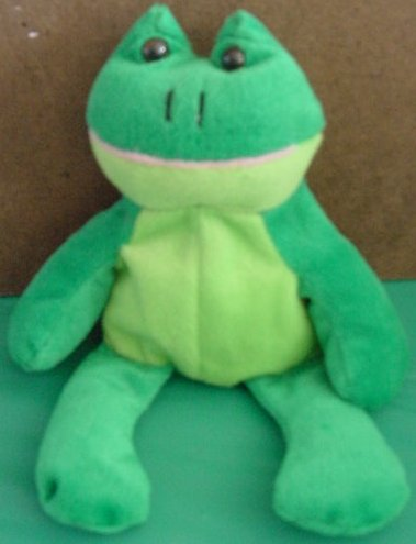 King Plush Green Sitting Frog Beanie Stuffed Plush 9""