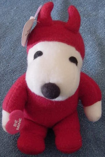 "Peanuts Snoopy Devil Dog Stuffed Plush 6"" Tag Be Mine"