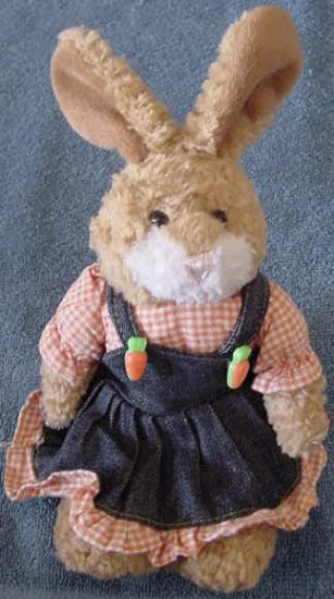 Plushland Bunny in Denim Jumper Dress Beanie Plush
