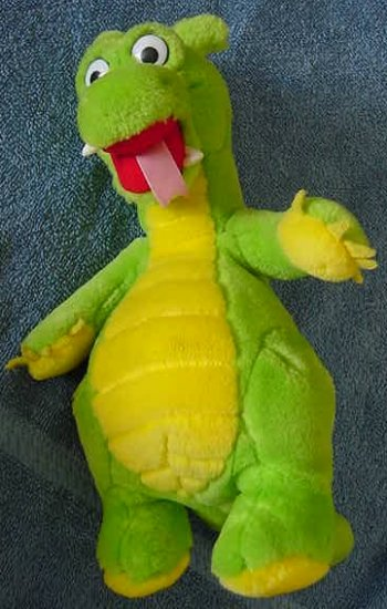 Green & Yellow Dragon Plastic Bumps Stuffed Plush 9""