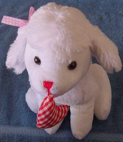 """Tony Toy White Dog Gingham Heart Stuffed Plush 9"""""""