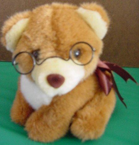 "Mainland Bridge Bear or Dog Glasses Stuffed Plush 6"""