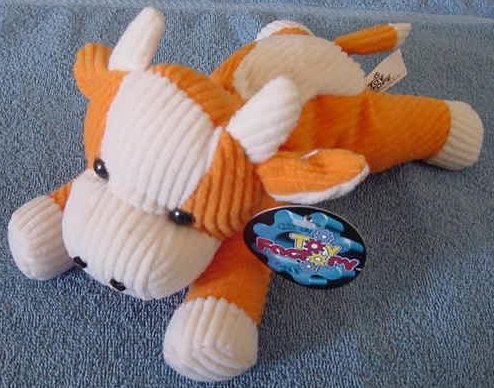 "Toy Factory Orange & White Cow Stuffed Plush 9"" Tag"