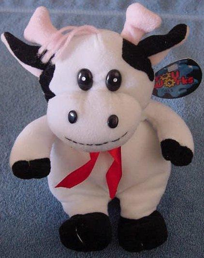 """Toy Works White & Black Smiley Cow Stuffed Plush 8"""""""