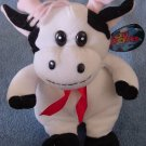 Toy Works White & Black Smiley Cow Stuffed Plush 8""