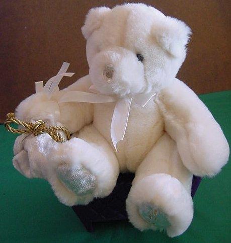 "Beverly Hills Bear White June Diamond Stuffed Plush 5"""
