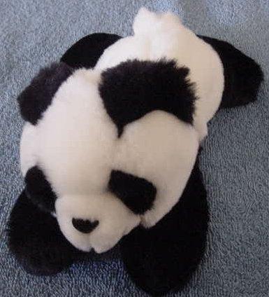 """Aurora Panda Bear Beanie Stuffed Plush 7"""" Soft Laying"""