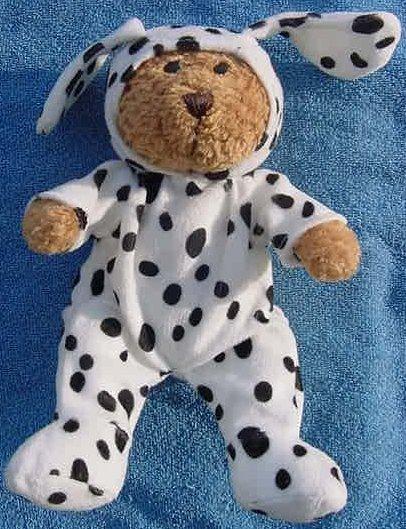 """Bear in Dalmatian Dog Costume Stuffed Plush 8"""""""