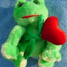 DanDee Green Frog Heart Flower Stuffed Plush 6""