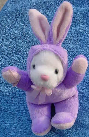 "Galerie White Bear Purple Bunny Suit Stuffed Plush 5"""