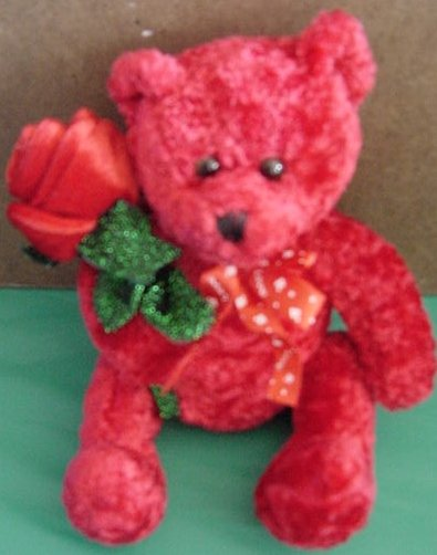 "Kids of America Red Bear with Rose Stuffed Plush 6"""