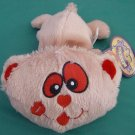 King Plush Beaniacs Beige Red Cat or Bear Beanie Plush