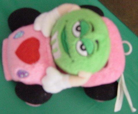 M&M's Miss Sassy Green Pink Vibrating Car Stuffed Plush