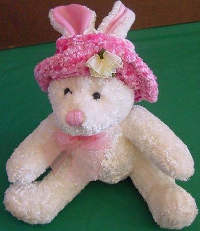 "MTY International Bunny in Pink Hat Stuffed Plush 7"""