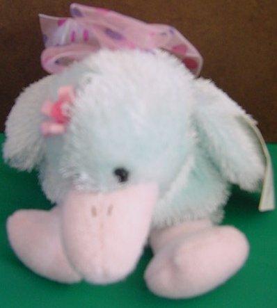 """Wal-mart Light Blue & Pink Duck Stuffed Plush 6"""" Tag"""